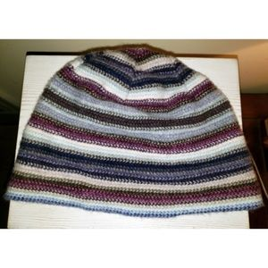 Striped beanie hat in blue white magenta Scottish